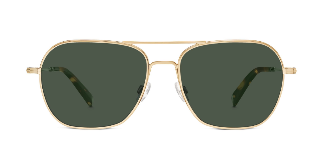 Front View Image of Abe Sunglasses Collection, by Warby Parker Brand, in Polished Gold Color