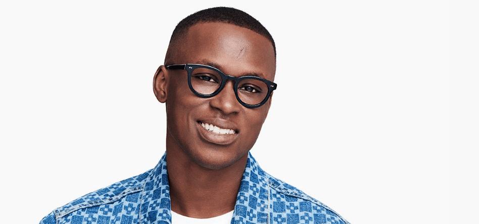 Men Model Image of Ainsley Eyeglasses Collection, by Warby Parker Brand, in Jet Black Color