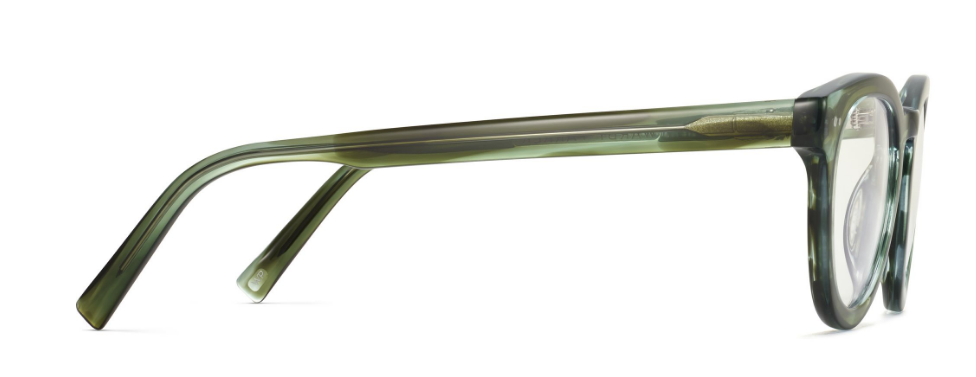 Side View Image of Ainsley Eyeglasses Collection, by Warby Parker Brand, in Striped Cypress Color