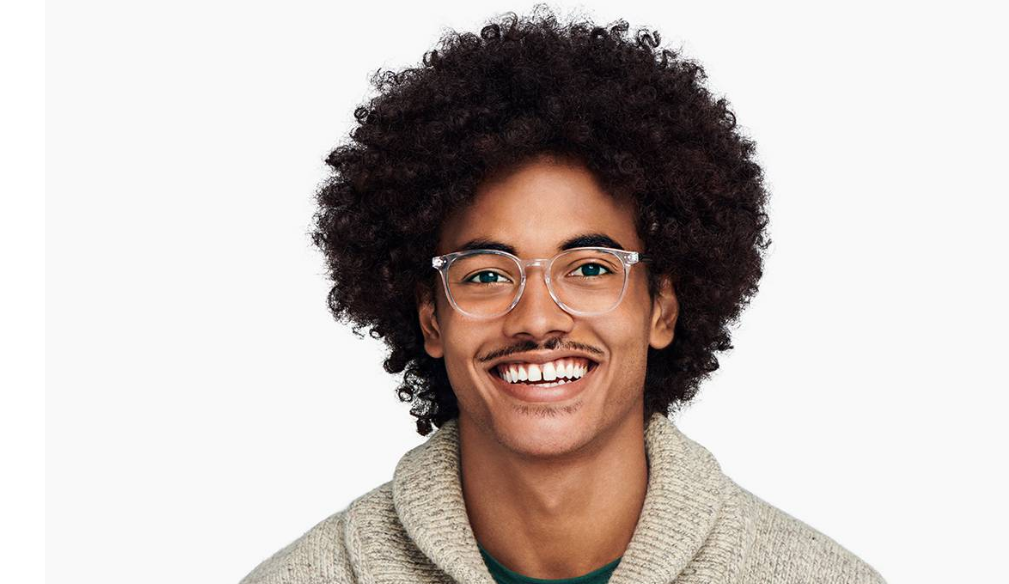Men Model Image of Carlton Eyeglasses Collection, by Warby Parker Brand, in Crystal Color