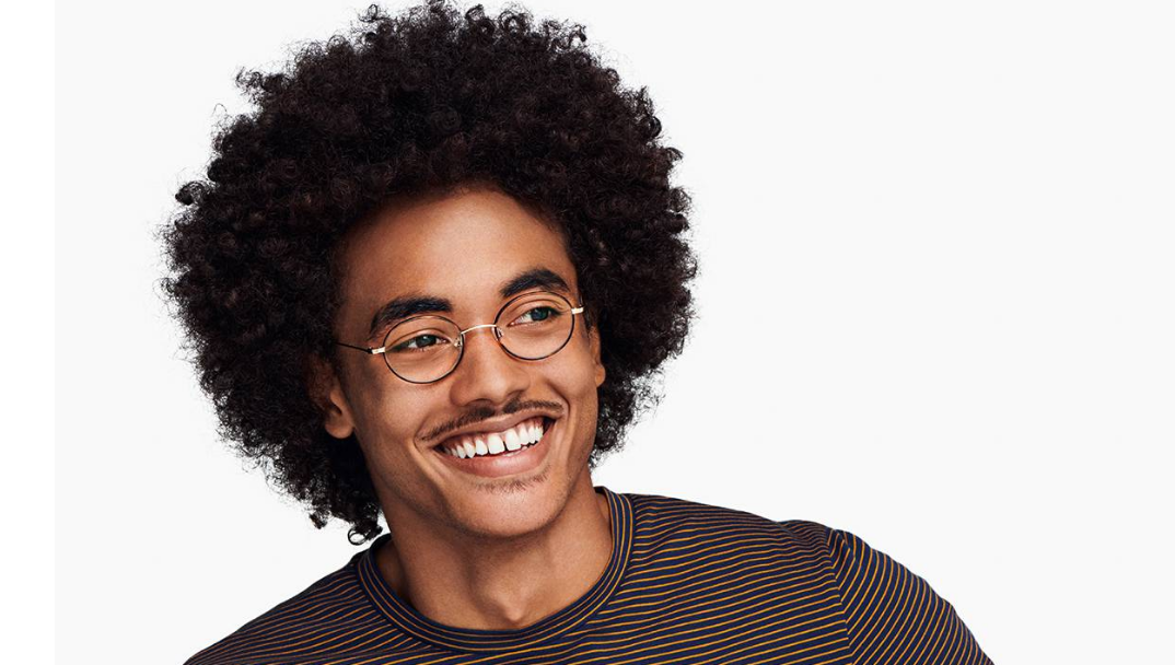 Men Model Image of Collins Eyeglasses Collection, by Warby Parker Brand, in Red Canyon Matte with Polished Gold Color