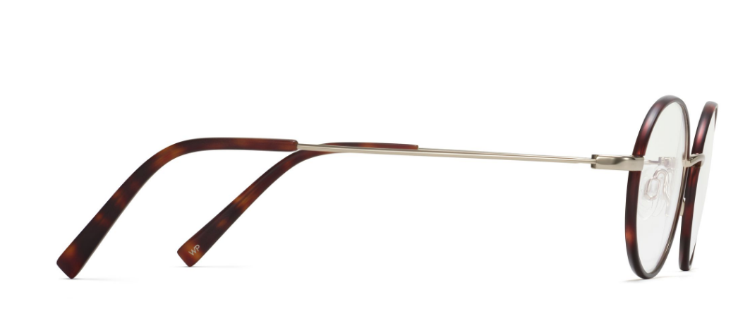 Side View Image of Collins Eyeglasses Collection, by Warby Parker Brand, in Red Canyon Matte with Polished Gold Color