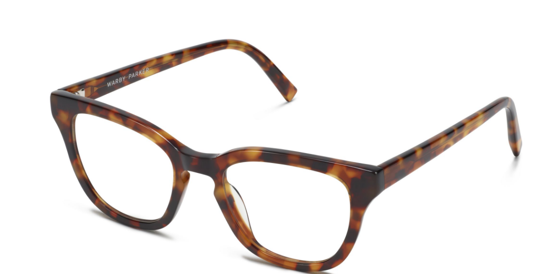 Angle View Image of Della Eyeglasses Collection, by Warby Parker Brand, in Acorn Tortoise Color