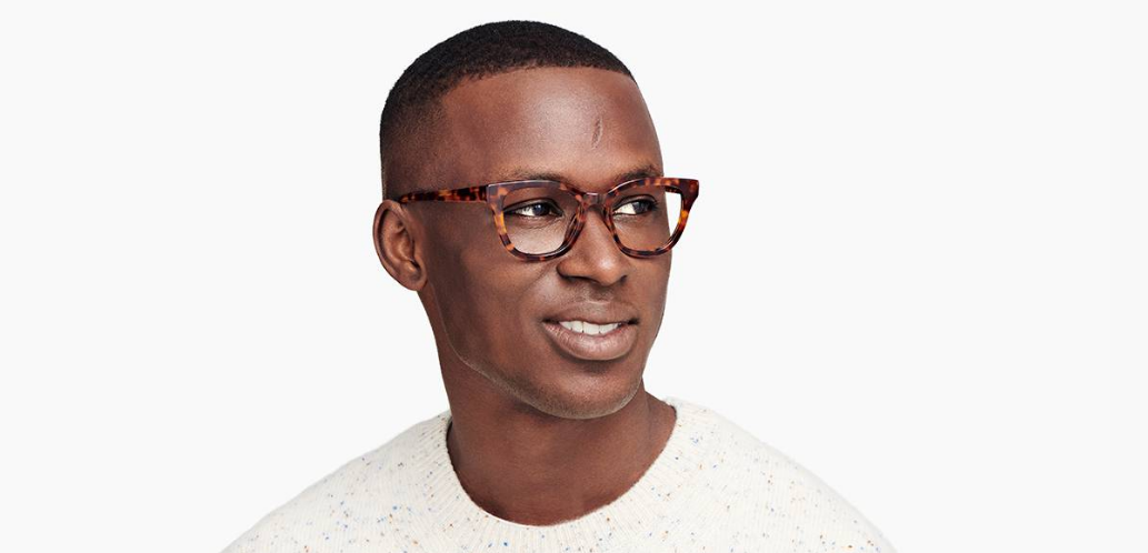 Men Model Image of Della Eyeglasses Collection, by Warby Parker Brand, in Acorn Tortoise Color