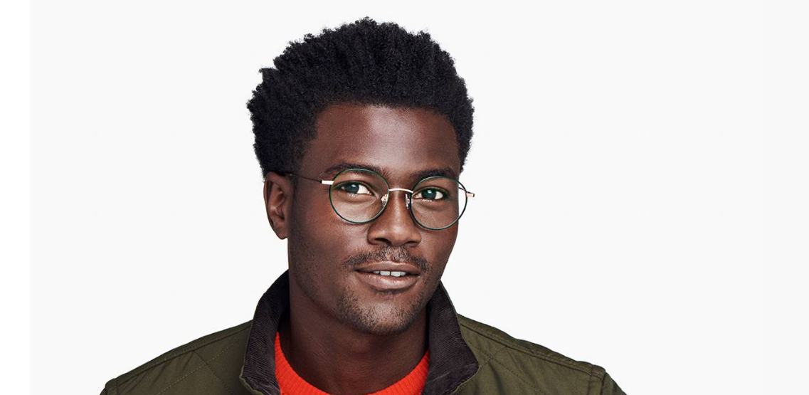 Men Model Image of Duncan Eyeglasses Collection, by Warby Parker Brand, in Forest Green with Polished Gold Color