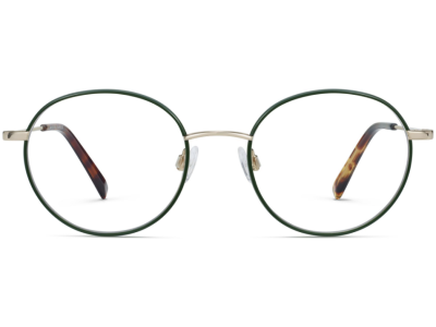 Front View Image of Duncan Eyeglasses Collection, by Warby Parker Brand, in Forest Green with Polished Gold Color
