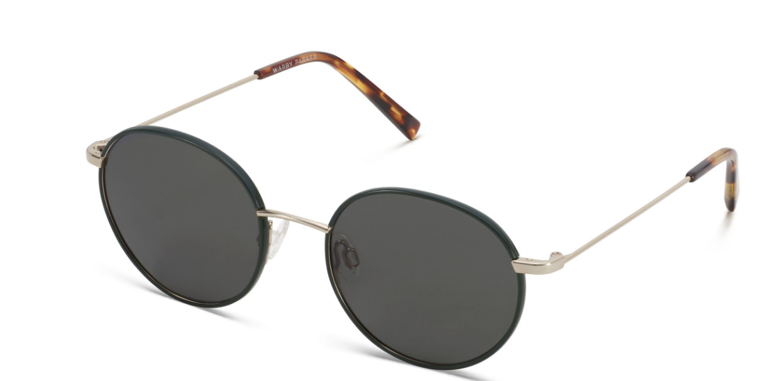 Angle View Image of Duncan Sunglasses Collection, by Warby Parker Brand, in Forest Green with Polished Gold Color
