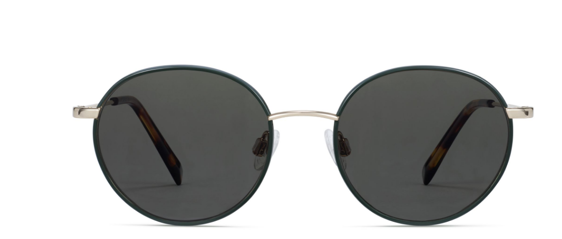 Front View Image of Duncan Sunglasses Collection, by Warby Parker Brand, in Forest Green with Polished Gold Color