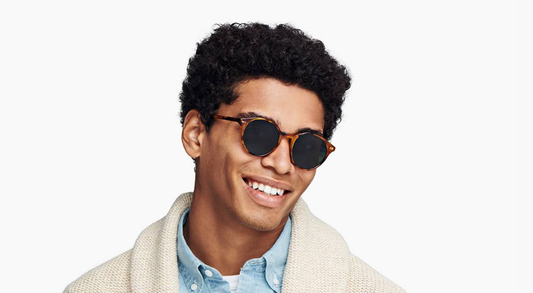 Men Model Image of Morgan Sunglasses Collection, by Warby Parker Brand, in Mesa Tortoise Color