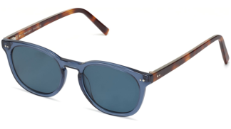 Angle View Image of Toddy Sunglasses Collection, by Warby Parker Brand, in Azure Crystal with Oak Barrel Color