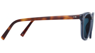 Side View Image of Toddy Sunglasses Collection, by Warby Parker Brand, in Azure Crystal with Oak Barrel Color