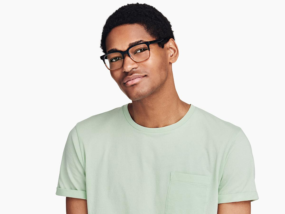 Men Model Image of Chamberlain Eyeglasses Collection, by Warby Parker Brand, in Cactus Fade Color