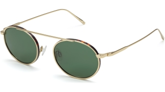 Angle View Image of Corwin Sunglasses Collection, by Warby Parker Brand, in Polished Gold with Whiskey Tortoise Matte Color