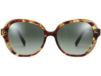 Front View Image of Adeline Sunglasses Collection, by Warby Parker Brand, in Root Beer with Polished Gold Color