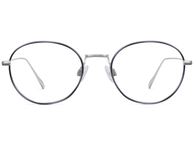 Front View Image of Colvin Eyeglasses Collection, by Warby Parker Brand, in Polished Silver with Belize Blue Color