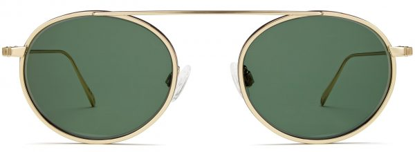 Front View Image of Corwin Sunglasses Collection, by Warby Parker Brand, in Polished Gold with Whiskey Tortoise Matte Color
