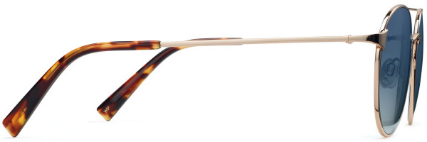 Side View Image of Fisher Sunglasses Collection, by Warby Parker Brand, in Polished Gold Color