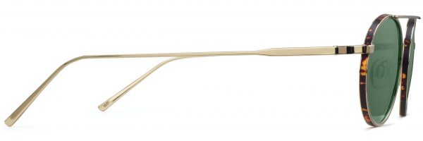 Side View Image of Corwin Sunglasses Collection, by Warby Parker Brand, in Polished Gold with Whiskey Tortoise Matte Color