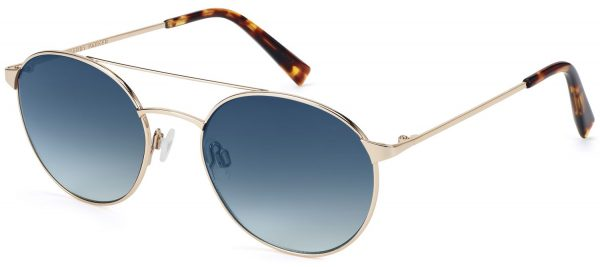 Angle View Image of Fisher Sunglasses Collection, by Warby Parker Brand, in Polished Gold Color
