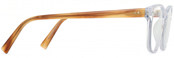Side View Image of Felix Eyeglasses Collection, by Warby Parker Brand, in Crystal with English Oak Temples Color