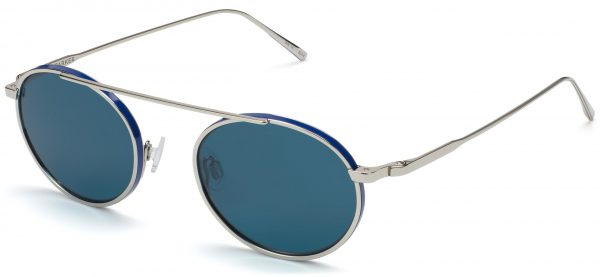 Angle View Image of Corwin Sunglasses Collection, by Warby Parker Brand, in Polished Silver with Matte Blue Color