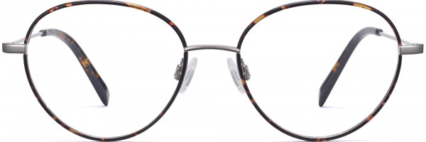 Front View Image of Arlen Eyeglasses Collection, by Warby Parker Brand, in Whiskey Tortoise Matte with Polished Silver Color