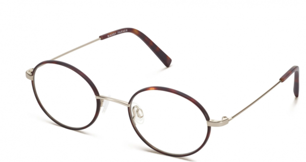 Angle View Image of Collins Eyeglasses Collection, by Warby Parker Brand, in Red Canyon Matte with Polished Gold Color