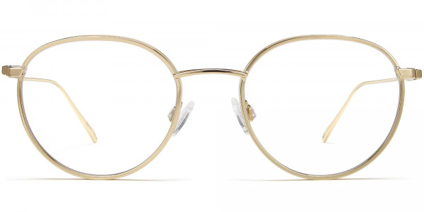 Front View Image of Darin Eyeglasses Collection, by Warby Parker Brand, in Polished Gold Color