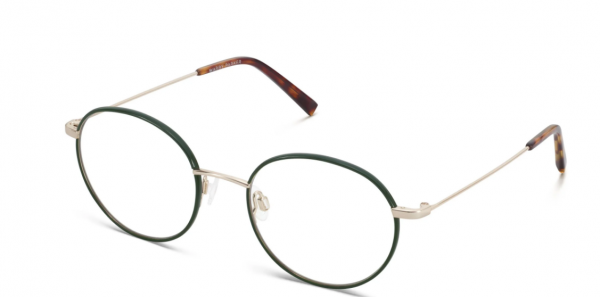 Angle View Image of Duncan Eyeglasses Collection, by Warby Parker Brand, in Forest Green with Polished Gold Color