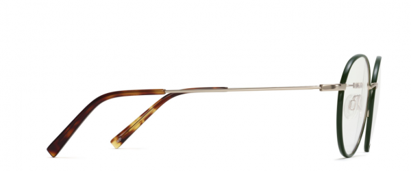 Side View Image of Duncan Eyeglasses Collection, by Warby Parker Brand, in Forest Green with Polished Gold Color