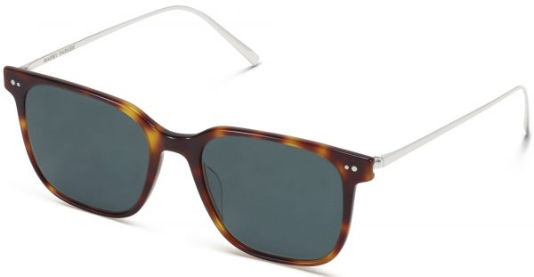 Angle View Image of Caleb Sunglasses Collection, by Warby Parker Brand, in Woodgrain Tortoise with Polished Silver Color