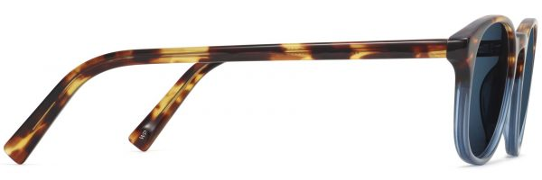 Side View Image of Downing Sunglasses Collection, by Warby Parker Brand, in Hudson Blue Fade Color