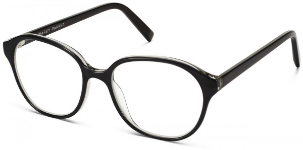 Angle View Image of Carrington Eyeglasses Collection, by Warby Parker Brand, in Layered Jet Black Crystal Color