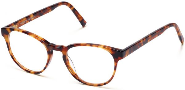 Angle View Image of Whalen Eyeglasses Collection, by Warby Parker Brand, in Striped Acorn Tortoise Color