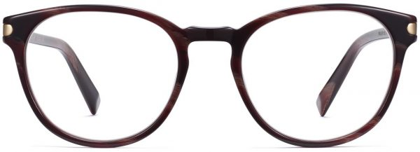 Front View Image of Whalen Eyeglasses Collection, by Warby Parker Brand, in Striped Auburn with Polished Gold Color