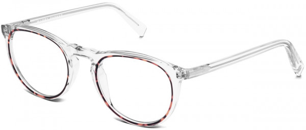 Angle View Image of Haskell Eyeglasses Collection, by Warby Parker Brand, in Crystal with Maple Color