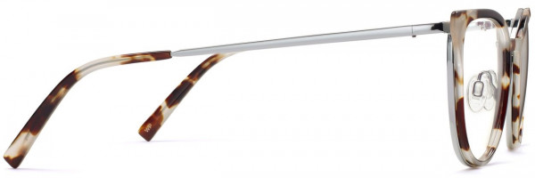 Side View Image of Lindley Eyeglasses Collection, by Warby Parker Brand, in Pearled Tortoise with Lilac Silver Color
