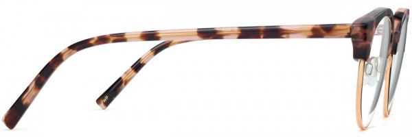 Side View Image of Carey Eyeglasses Collection, by Warby Parker Brand, in Petal Tortoise with Gold Color