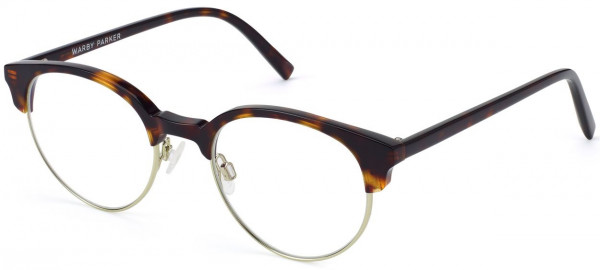 Angle View Image of Carey Eyeglasses Collection, by Warby Parker Brand, in Cognac Tortoise with Riesling Color