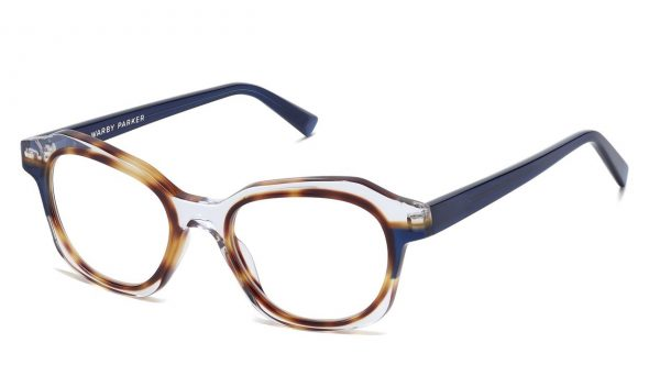 Angle View Image of Darrow Eyeglasses Collection, by Warby Parker Brand, in Crystal with Oak Barrel and Blue Bay Color