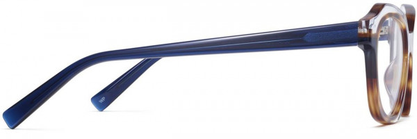 Side View Image of Darrow Eyeglasses Collection, by Warby Parker Brand, in Crystal with Oak Barrel and Blue Bay Color