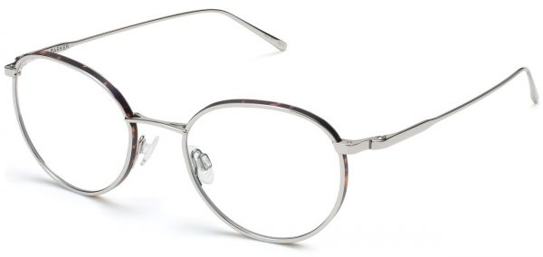 Side View Image of Darin Eyeglasses Collection, by Warby Parker Brand, in Polished Silver with Whiskey Tortoise Matte Color
