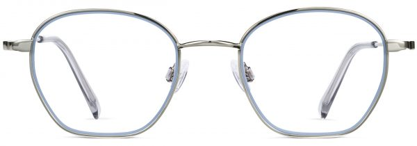 Front View Image of Larsen Eyeglasses Collection, by Warby Parker Brand, in Antique Blue with Polished Silver Color