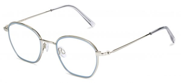 Angle View Image of Larsen Eyeglasses Collection, by Warby Parker Brand, in Antique Blue with Polished Silver Color